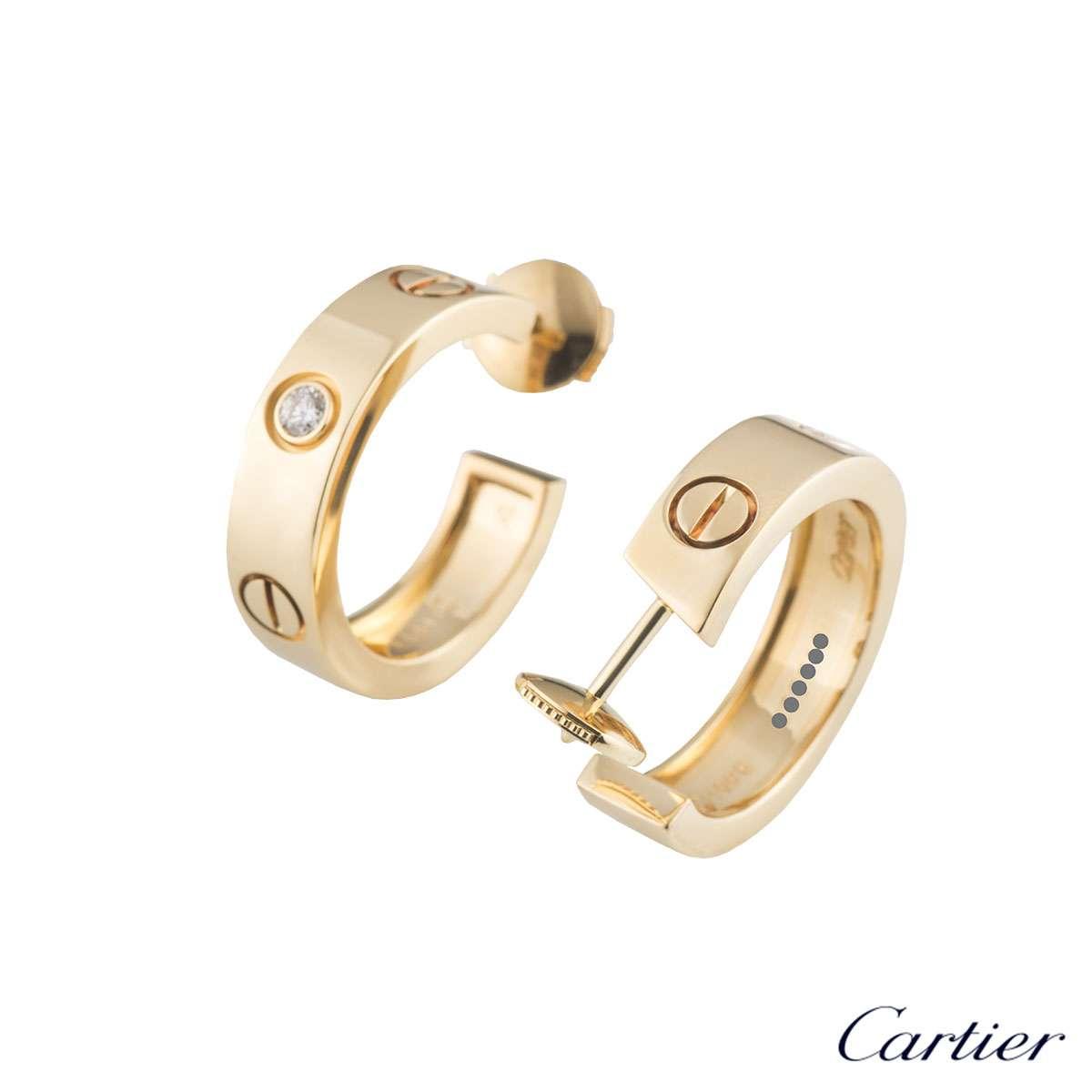 cartier yellow gold diamond love earrings b8022900 rich